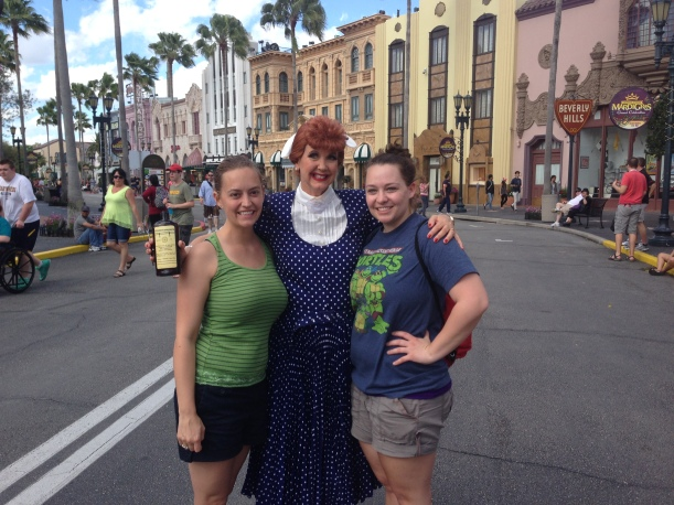 A Lucille Ball look-alike poses at Universal Studios, FL, with my sister and me